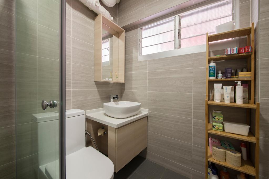 Minimalistic, HDB, Bathroom, Bishan Street 24, Interior Designer, Ascenders Design Studio, Rack, Bathroom Rack, Storage, Storage Space, Toiletries, Bathroom Tile, Simple Tiles, Indoors, Interior Design, Room, Shelf