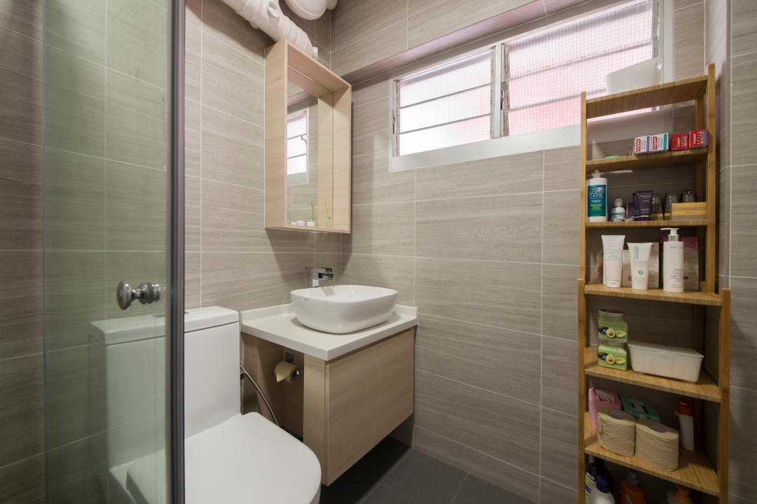 Bishan Street 24, Ascenders Design Studio, Minimalistic, Bathroom, HDB, Rack, Bathroom Rack, Storage, Storage Space, Toiletries, Bathroom Tile, Simple Tiles, Indoors, Interior Design, Room, Shelf