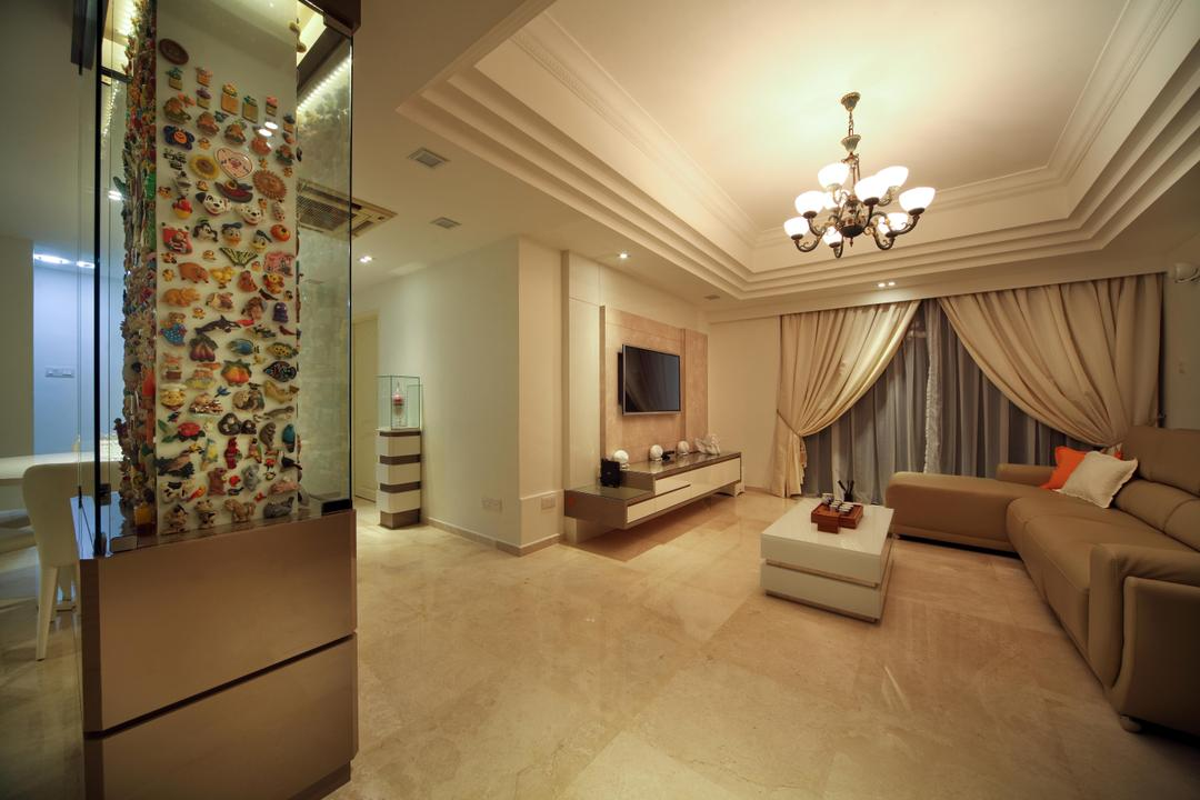 Mergui Road (Block 81), Boon Siew D'sign, Transitional, Living Room, Condo, Neutral Tones, Columns, Glass Display, Wall Art, Hanging Lighting, Lighting, Sofa, Beige, Marble Flooring, Tv Console, Curtains, White, Display Pedastal, Pedastal, Chandelier, Lamp, Flooring, Indoors, Room