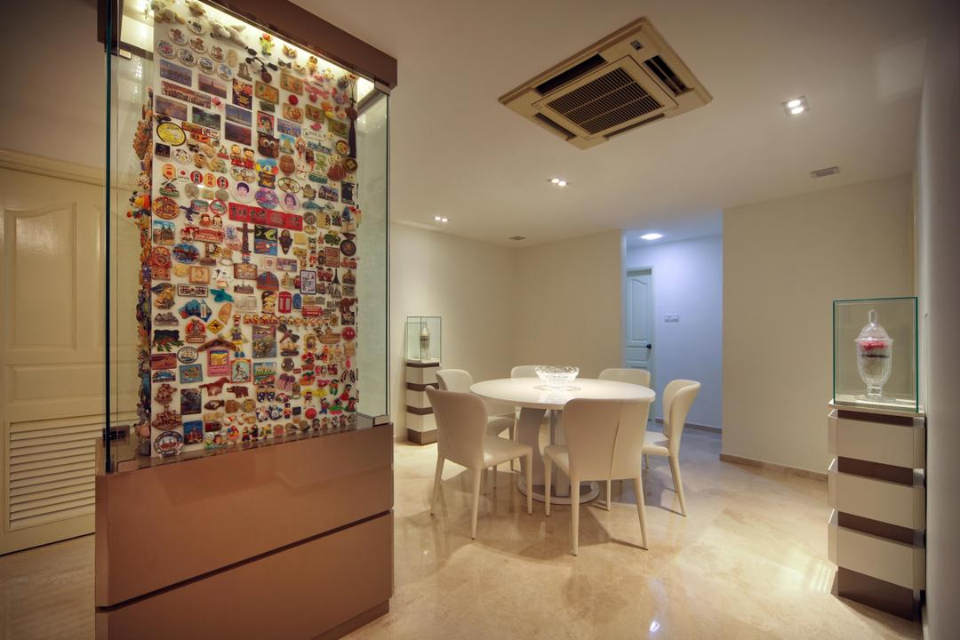 Mergui Road (Block 81), Boon Siew D'sign, Transitional, Dining Room, Condo, Columns, Glass Display, Wall Art, Dining Table, Chair, White, Marble Flooring, Display Pedastal, Pedastal, Furniture, Table, Flooring