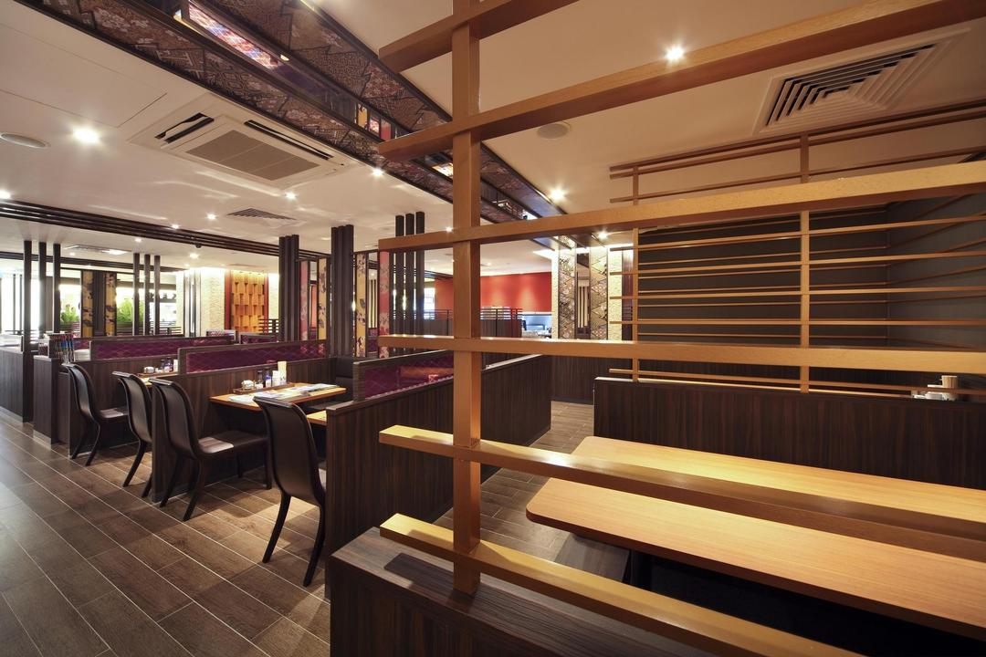 Yayoiken Japanese Restaurant, Boon Siew D'sign, Transitional, Dining Room, Commercial, Plank Flooring, Chair, Dining Table, Table, Grills, Wood Laminate, Wood, Laminate, Parquet, Columns, Wallpaper, Floral, Oriental, Couch, Furniture