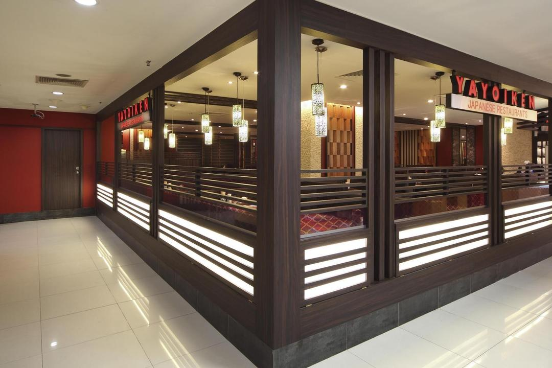 Yayoiken Japanese Restaurant, Boon Siew D'sign, Transitional, Commercial, Exterior, Wood Laminate, Wood, Laminate, Parquet Wall, Hanging Light, Lighting, Indoors, Interior Design