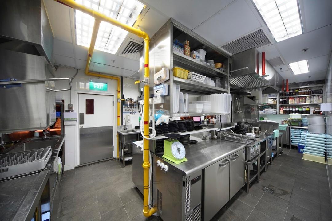 Yayoiken Japanese Restaurant, Boon Siew D'sign, Transitional, Kitchen, Commercial, Metallic, Shelf, Shelves, Kitchen Counter, Tile, Tiles, Building, Factory