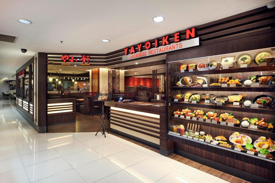Yayoiken Japanese Restaurant, Boon Siew D'sign, Transitional, Commercial, Exterior, Glass Display, Parquet Wall, Parquet, Wood Laminate, Wood, Laminate, Shop, Bakery, Food, Sushi