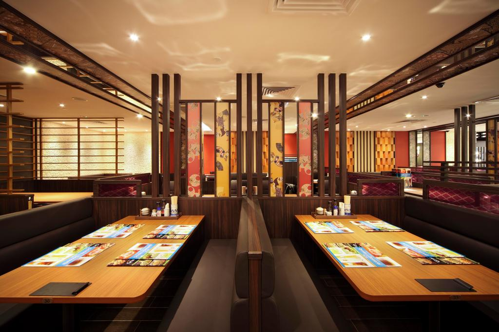 Yayoiken Japanese Restaurant, Commercial, Interior Designer, Boon Siew D'sign, Transitional, Dining Room, Columns, Wood Laminate, Wood, Laminate, Parquet, Sofa, Dining Table, Table, Chair, Grills, Wallpaper, Oriental, Aisle, Indoors, Couch, Furniture, Shop