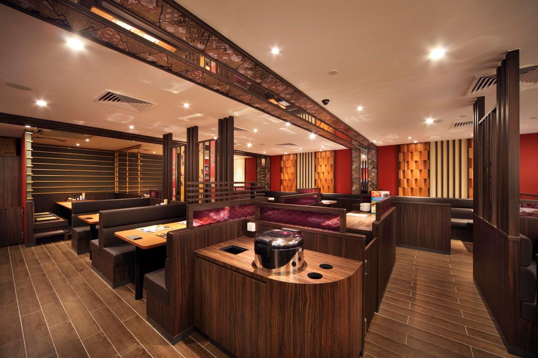 Yayoiken Japanese Restaurant, Boon Siew D'sign, Transitional, Dining Room, Commercial, Plank Flooring, Parquet, Wood Laminate, Wood, Laminate, Columns, Dining Table, Sofa, Grills, Red, Indoors, Interior Design, Hardwood