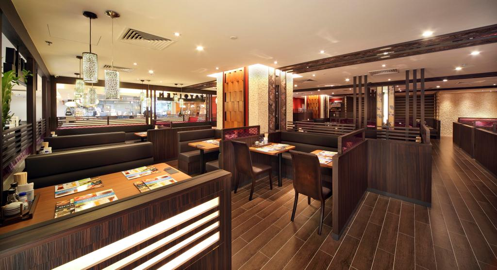 Yayoiken Japanese Restaurant, Commercial, Interior Designer, Boon Siew D'sign, Transitional, Dining Room, Plank Flooring, Parquet, Parquet Wall, Wood Laminate, Wood, Laminate, Hanging Light, Dining Table, Table, Chair, Bar Counter, Pub, Restaurant, Diner, Food, Meal