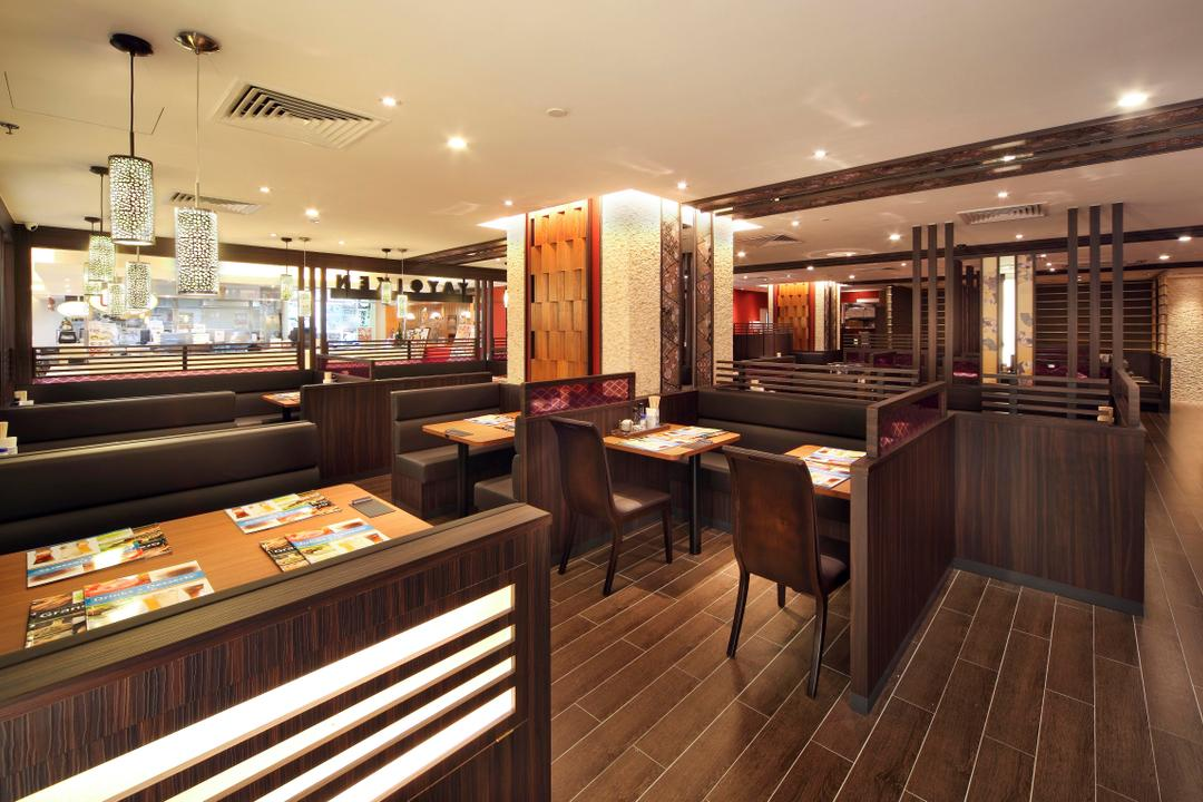Yayoiken Japanese Restaurant, Boon Siew D'sign, Transitional, Dining Room, Commercial, Plank Flooring, Parquet, Parquet Wall, Wood Laminate, Wood, Laminate, Hanging Light, Dining Table, Table, Chair, Bar Counter, Pub, Restaurant, Diner, Food, Meal