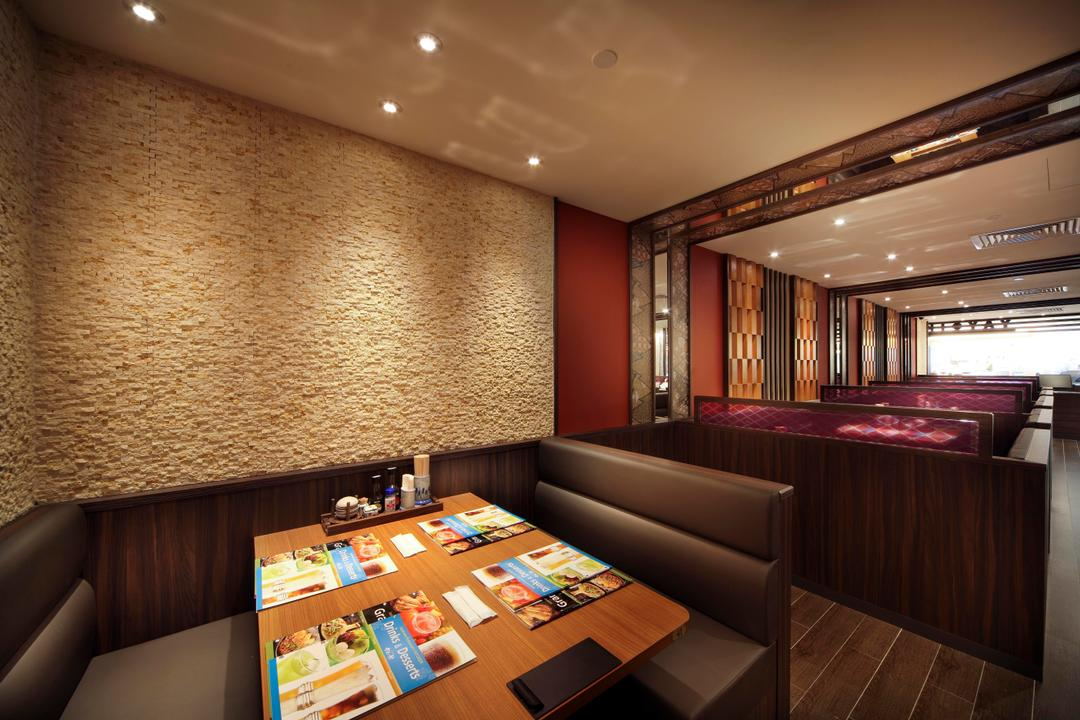 Yayoiken Japanese Restaurant, Boon Siew D'sign, Transitional, Dining Room, Commercial, Stone Wall, Dining Table, Sofa, Wood Laminate, Wood, Laminate, Parquet, Plank Flooring, Red, Wall Panels