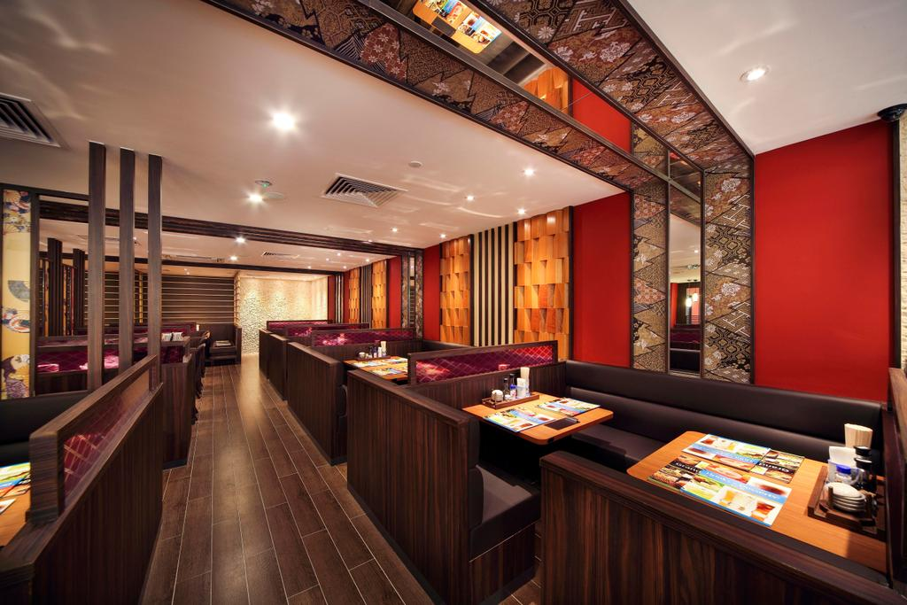 Yayoiken Japanese Restaurant, Commercial, Interior Designer, Boon Siew D'sign, Transitional, Dining Room, Wood Laminate, Wood, Laminate, Parquet, Red, Columns, Wallpaper, Floral, Oriental, Plank Flooring, Sofa, Dining Table, Mirror, Bookcase, Furniture