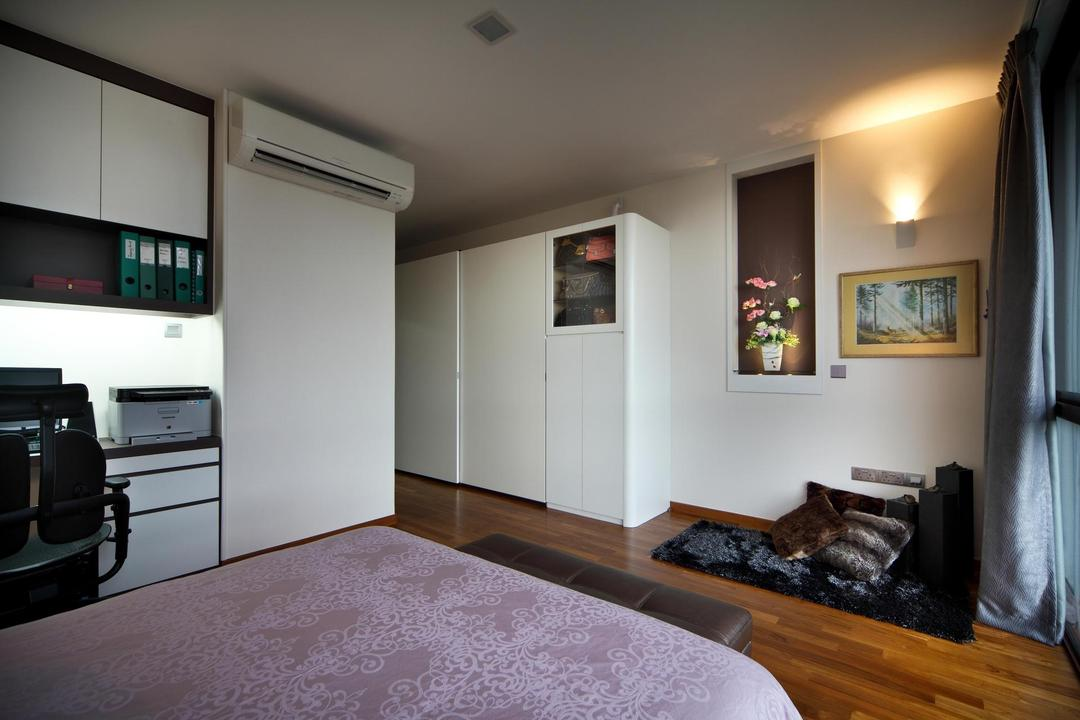 63 Grace Walk, Boon Siew D'sign, Transitional, Bedroom, Landed, Indented Shelf, Recessed Shelf, Wall Lamp, Painting, White, Glass Display, Rug, Cushions, Cabinet, Shelf, Plants, Master Bedroom, Molding, Indoors, Room