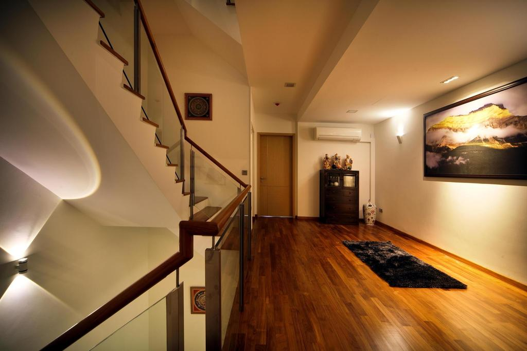 Transitional, Landed, 63 Grace Walk, Interior Designer, Boon Siew D'sign, Parquet, Painting, White, Stairs, Staircase, Rug, Wall Lamp, Hallway, Stairway, Banister, Handrail, Flooring