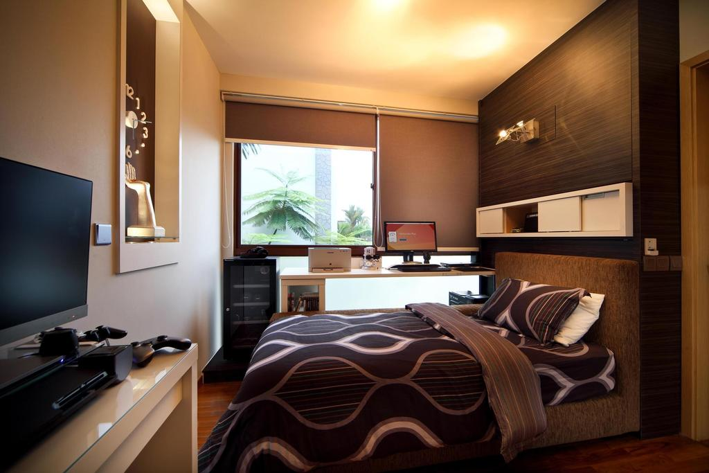 Transitional, Landed, Bedroom, 63 Grace Walk, Interior Designer, Boon Siew D'sign, Warm Tones, Blinds, Clock, Sculpture, Display Shelf, Wall Lamp, Wood Laminate, Wood, Laminate, Study Table, Recessed Shelf, Indented Shelf, White, Chair, Furniture, Indoors, Interior Design, Lighting, Room