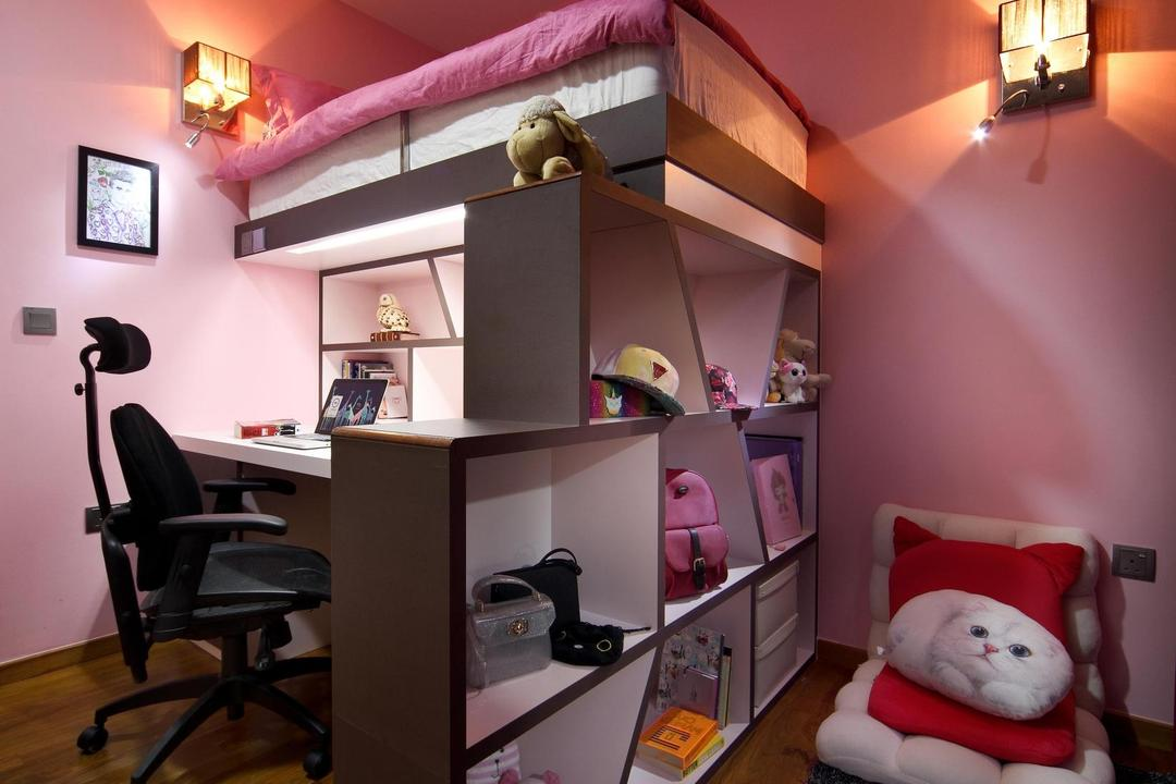 63 Grace Walk, Boon Siew D'sign, Transitional, Bedroom, Landed, Pink, Kids Room, Kids, Chair, Rug, Parquet, Shelf, Shelves, Cubbyholes, Wall Lamp, Furniture