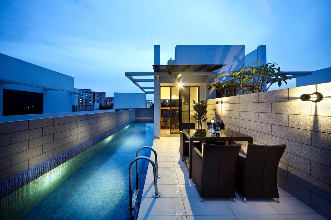 63 Grace Walk, Boon Siew D'sign, Transitional, Landed, Outdoors, Brick Wall, Swimming Pool, Wall Lamp, Awning, Table, Chair, Tile, Tiles, Glass Sliding Doors, White, Building, House, Housing, Villa