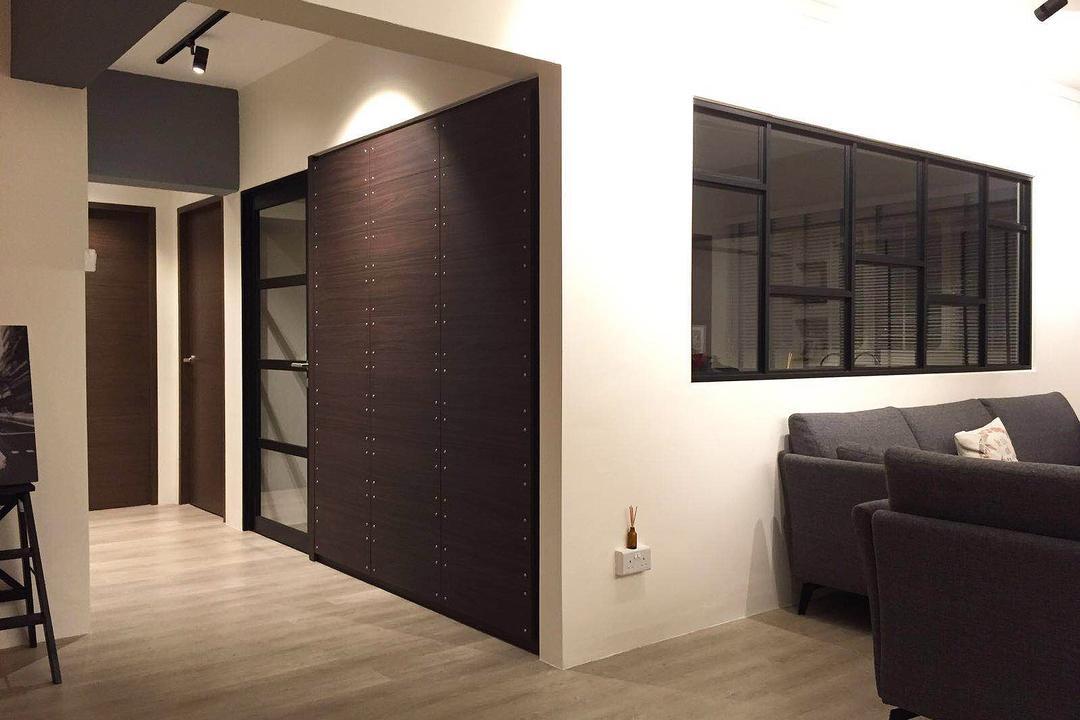 Shunfu (Block 312), Explore Living, Scandinavian, Living Room, HDB, Half Hack, Black Trims, Window With Black Trims, Door, Walkway, Hallway, Couch, Furniture, Corridor