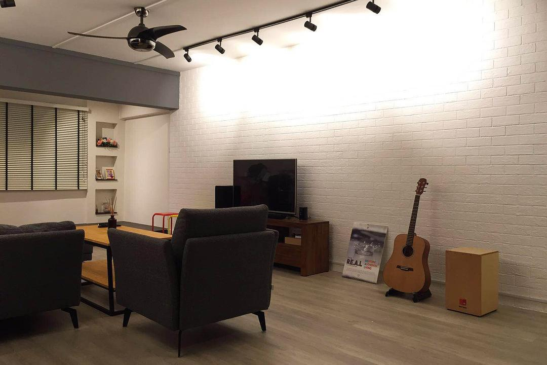 Shunfu (Block 312), Explore Living, Scandinavian, Living Room, HDB, Brick Wall, White Brick Wall, Track Lighting, Black Track Lighting, Ceiling Fan, Black Ceiling Fan, Blinds, Venetian Blinds, Sofa, One Seater, Guitar, Couch, Furniture, Leisure Activities, Music, Musical Instrument