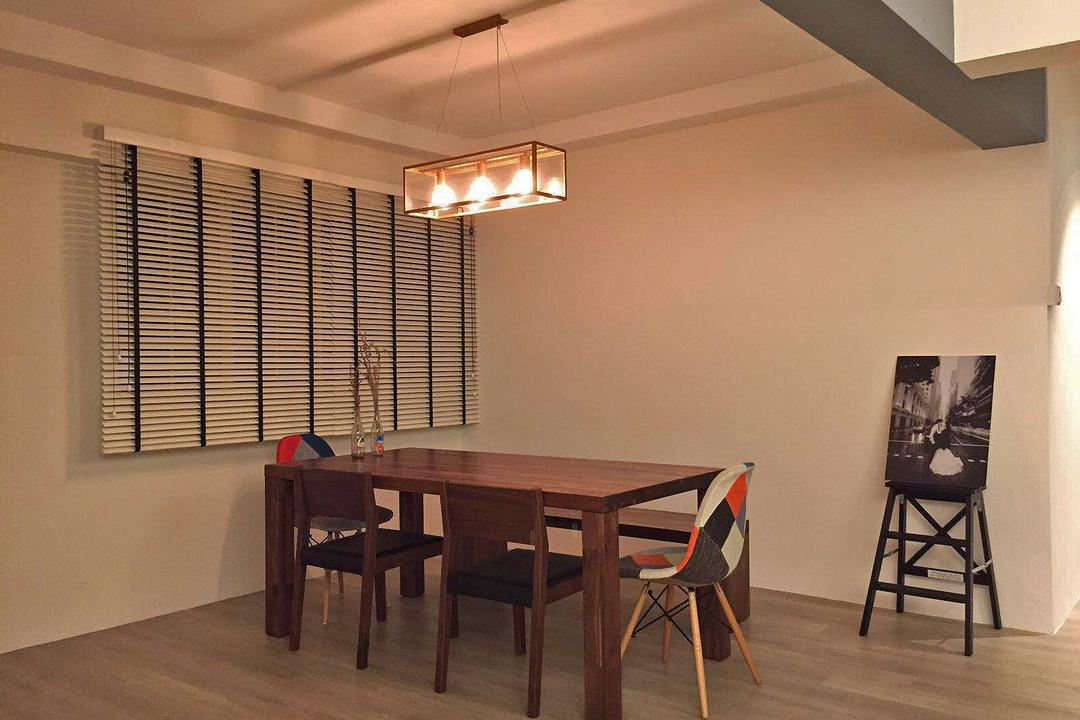 Shunfu (Block 312), Explore Living, Scandinavian, Dining Room, HDB, Blinds, Venetian Blinds, Dining Table, Dining Chair, Eames Chair, Dsw Chair, Colourful Dsw Chair, Painting, Photo Canvas, Pendant Lamp, Hanging Lamp, Furniture, Table, Indoors, Interior Design, Room, Chair, Bench