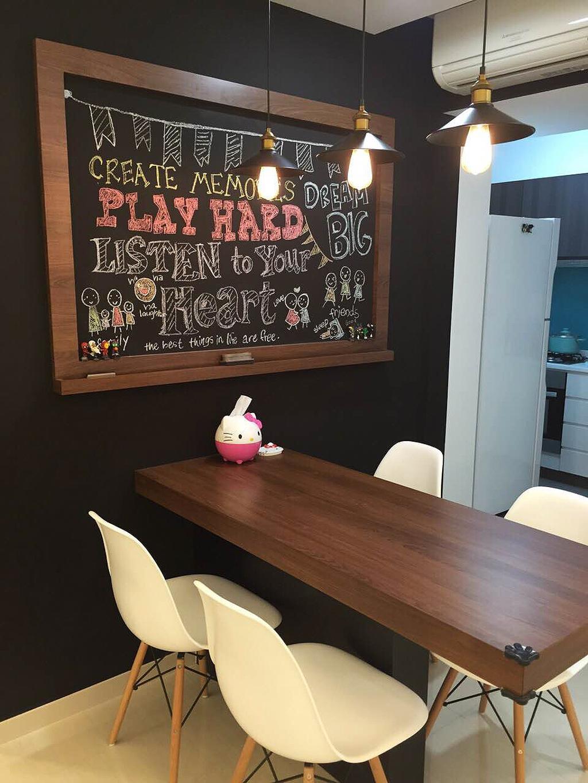 Scandinavian, HDB, Dining Room, Bedok Reservoir (Block 748), Interior Designer, Explore Living, Dining Table, Dining Chair, Eames Chair, Dsw Chair, White Dsw Chair, Chalkboard, Pendant Lamp, Hanging Lamp, Blackboard, Plywood, Wood