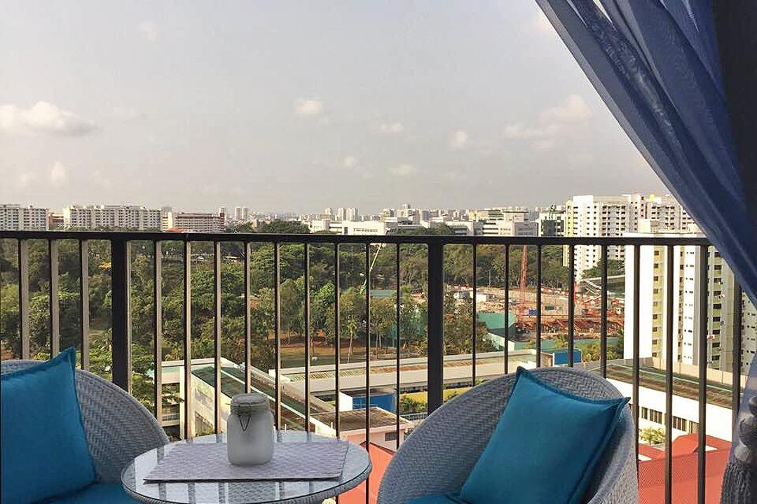 Bedok Reservoir (Block 748), Explore Living, Scandinavian, Balcony, HDB, Balcony Furniture, Balcony Sofa, Blue, Blue Sofa, Blue Carpet, Small Table, Chair, Furniture, Machine, Ramp, Playground, Couch