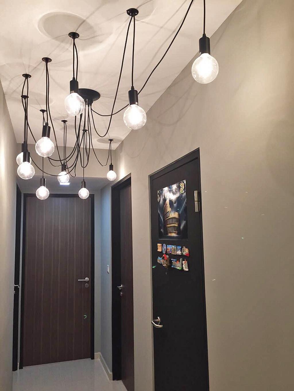 Scandinavian, HDB, Living Room, Bedok Reservoir (Block 748), Interior Designer, Explore Living, Pendant Lamp, Hanging Lamp, Light Bulb Pendant Lamp, Exposed Bulb Lamp, Door, Chandelier, Lamp, Lighting, Appliance, Electrical Device, Fridge, Refrigerator