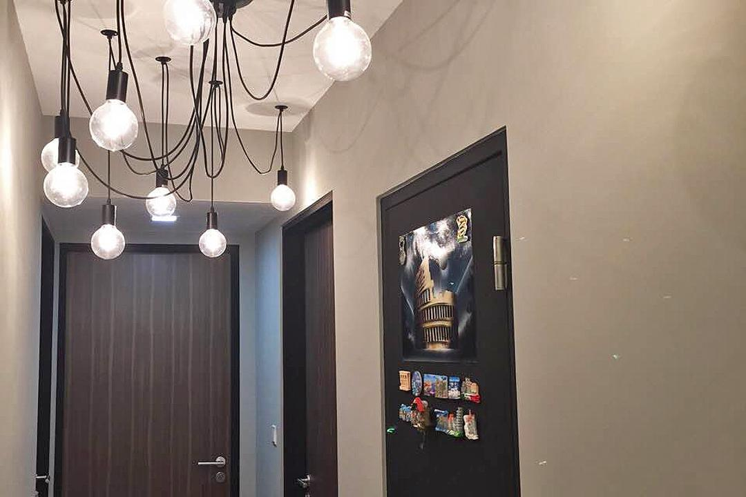 Bedok Reservoir (Block 748), Explore Living, Scandinavian, Living Room, HDB, Pendant Lamp, Hanging Lamp, Light Bulb Pendant Lamp, Exposed Bulb Lamp, Door, Chandelier, Lamp, Lighting, Appliance, Electrical Device, Fridge, Refrigerator
