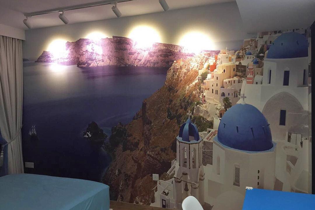 Bedok Reservoir (Block 748), Explore Living, Scandinavian, Bedroom, HDB, Wallpaper, Santorini, Greece, Travel, International, Architecture, Bell Tower, Building, Tower
