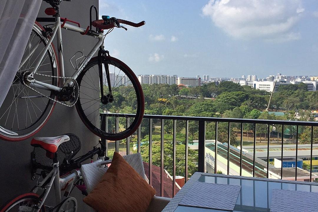 Bedok Reservoir (Block 748), Explore Living, Scandinavian, Balcony, HDB, Bicycle Rack, Bicycles, View, Ceiling Fan With Lamp, Bicycle, Bike, Transportation, Vehicle