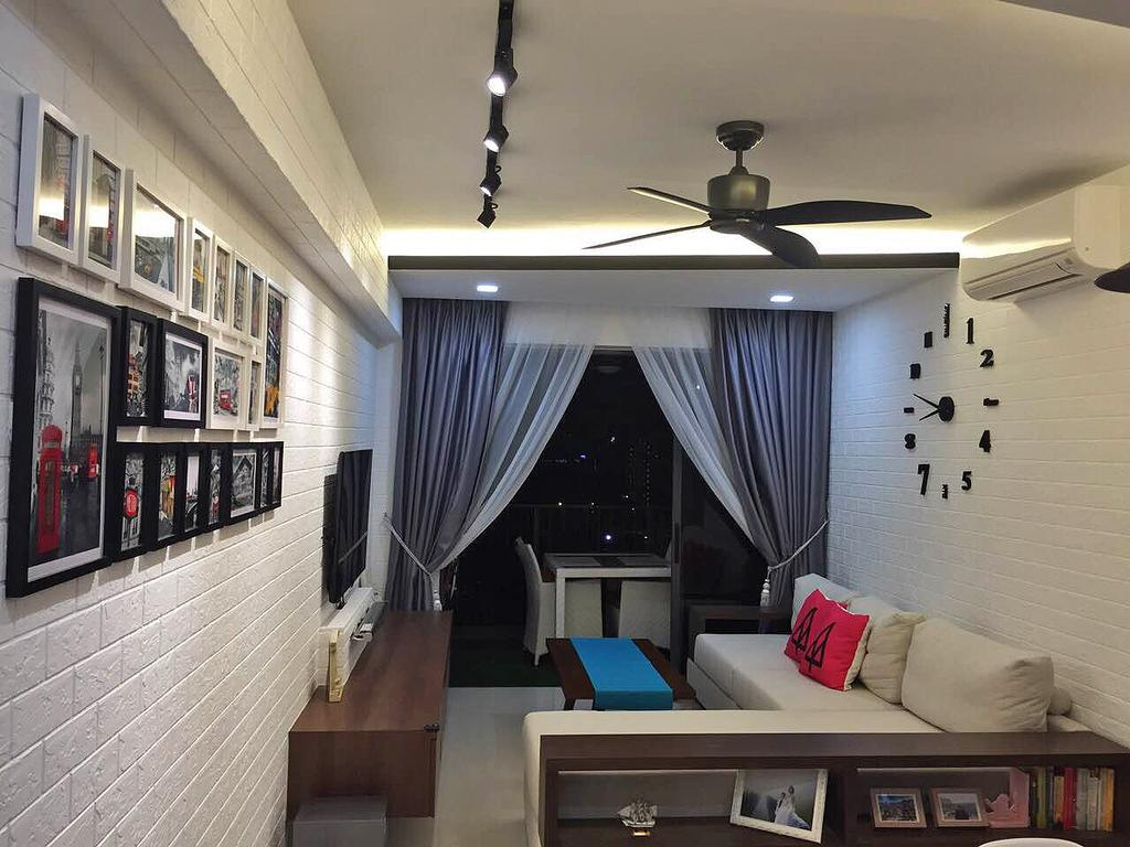 Scandinavian, HDB, Living Room, Bedok Reservoir (Block 748), Interior Designer, Explore Living, Wall Clock, Big Wall Clock, Ceiling Fan, Black Ceiling Fan, Brick Wall, White Brick Wall, Gallery Wall, Track Lighting, Black Track Lighting, Couch, Furniture, Indoors, Room