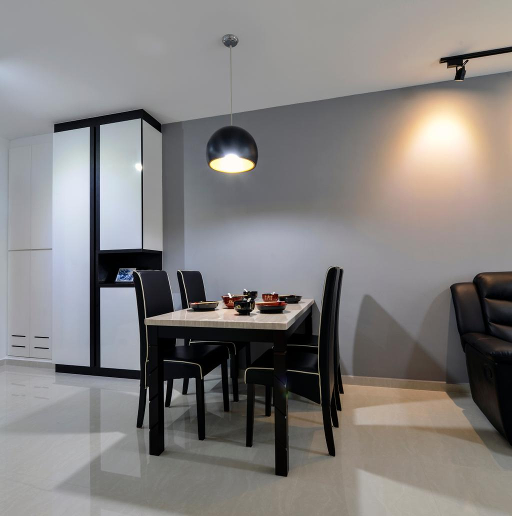Modern, HDB, Dining Room, Punggol Field (Block 258A), Interior Designer, 4mation ID, Dining Table, Dining Chairs, Pendant Lamp, Hanging Lamp, Black Pendant Lamp, Cabinet, Black And White Cabinet
