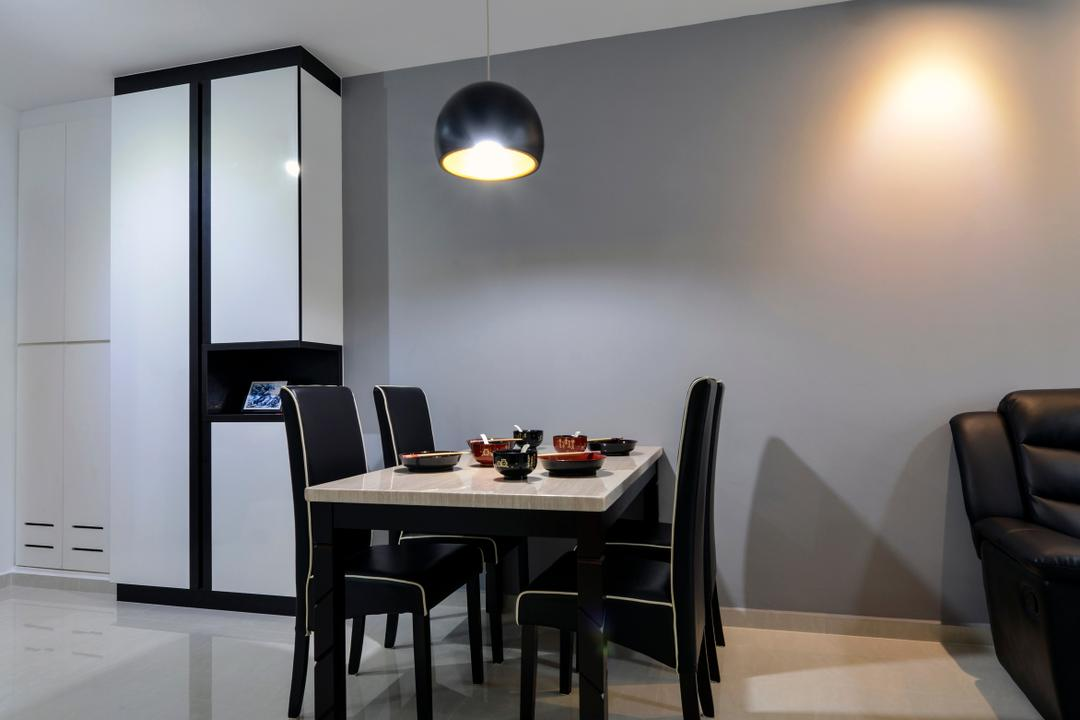 Punggol Field (Block 258A), 4mation ID, Modern, Dining Room, HDB, Dining Table, Dining Chairs, Pendant Lamp, Hanging Lamp, Black Pendant Lamp, Cabinet, Black And White Cabinet