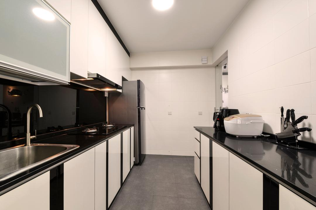 Punggol Field (Block 258A), 4mation ID, Modern, Kitchen, HDB, Black And White, White Cabinet, Two Tone Cabinet, Black Countertop, Monochrome, Kitchen Sink, Sink