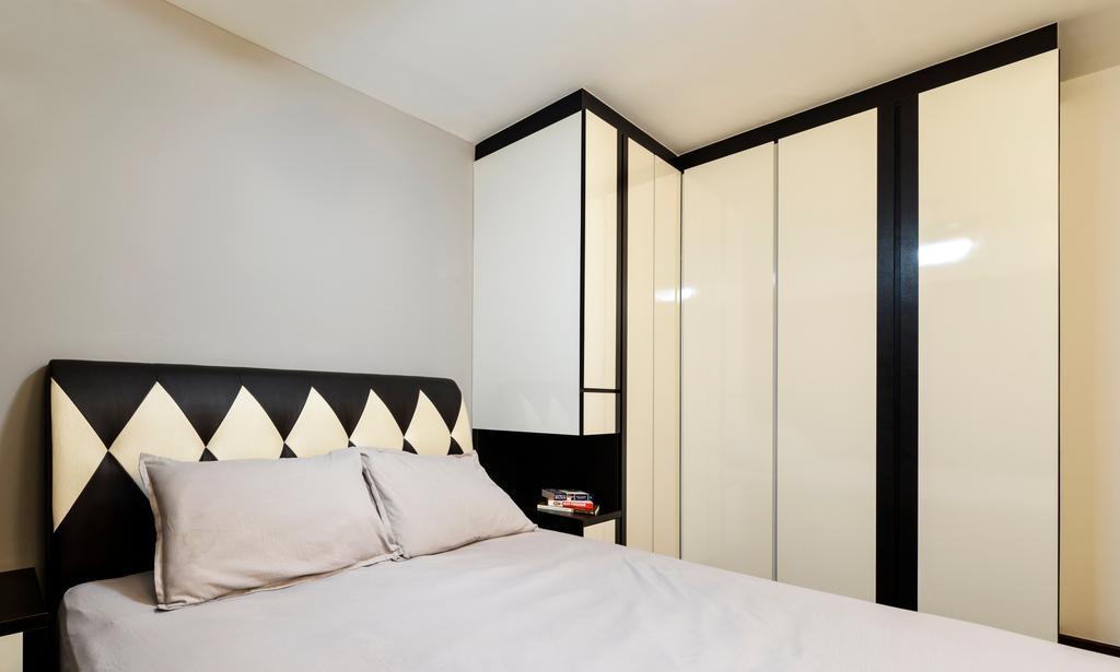 Modern, HDB, Bedroom, Punggol Field (Block 258A), Interior Designer, 4mation ID, Headboard, Black And White, White Cabinet, Monochrome