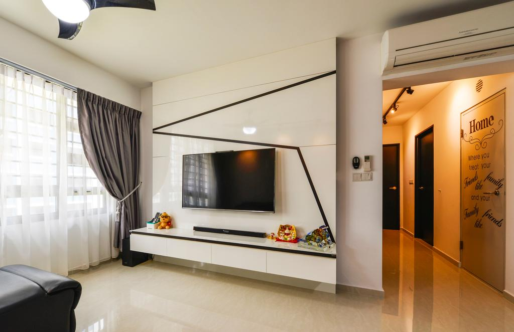 Modern, HDB, Living Room, Punggol Field (Block 258A), Interior Designer, 4mation ID, Tv Console, Floating Console, Wall Mounted Tv, Black And White, Monochrome, White Feature Wall, Feature Wall, Aircon, Walkway, Hallway, Corridor