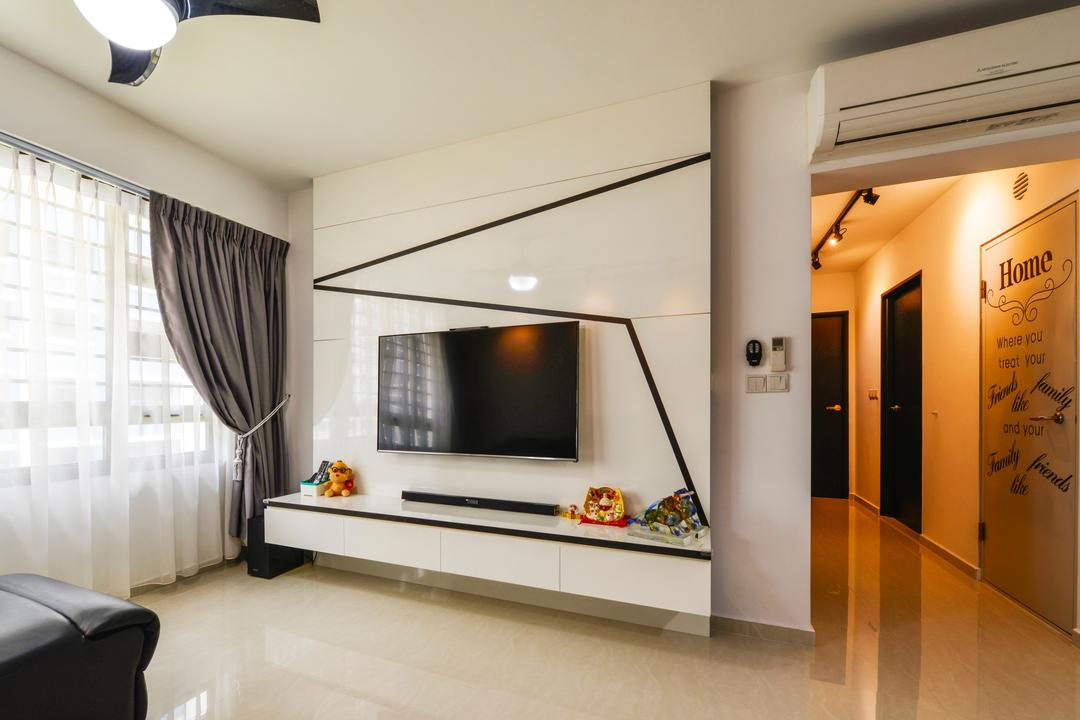Punggol Field (Block 258A), 4mation ID, Modern, Living Room, HDB, Tv Console, Floating Console, Wall Mounted Tv, Black And White, Monochrome, White Feature Wall, Feature Wall, Aircon, Walkway, Hallway, Corridor