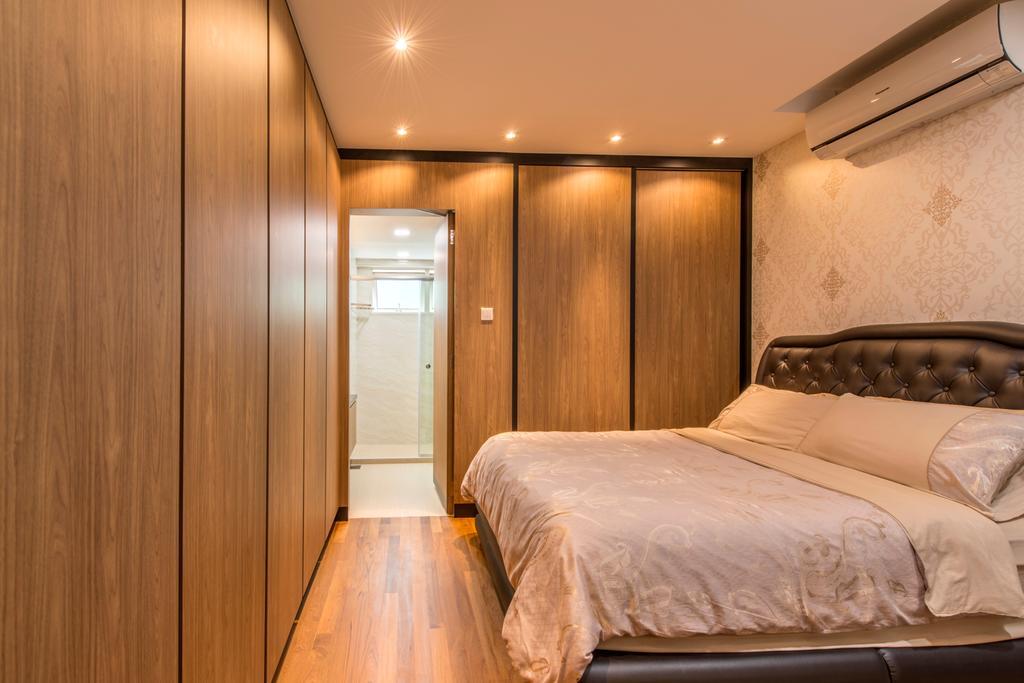 Contemporary, Condo, Bedroom, The Gardens @Bishan, Interior Designer, 4mation ID, Headboard, Aircon, Wallpaper, Quilted Headboard