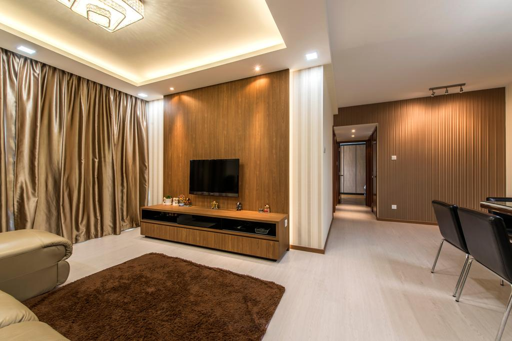 Contemporary, Condo, Living Room, The Gardens @Bishan, Interior Designer, 4mation ID, False Ceiling, Tv Console, Feature Wall, Lame Curtains, Glossy Curtain, Gold, Gold Curtain, Carpet, Brown Carpet, Brown
