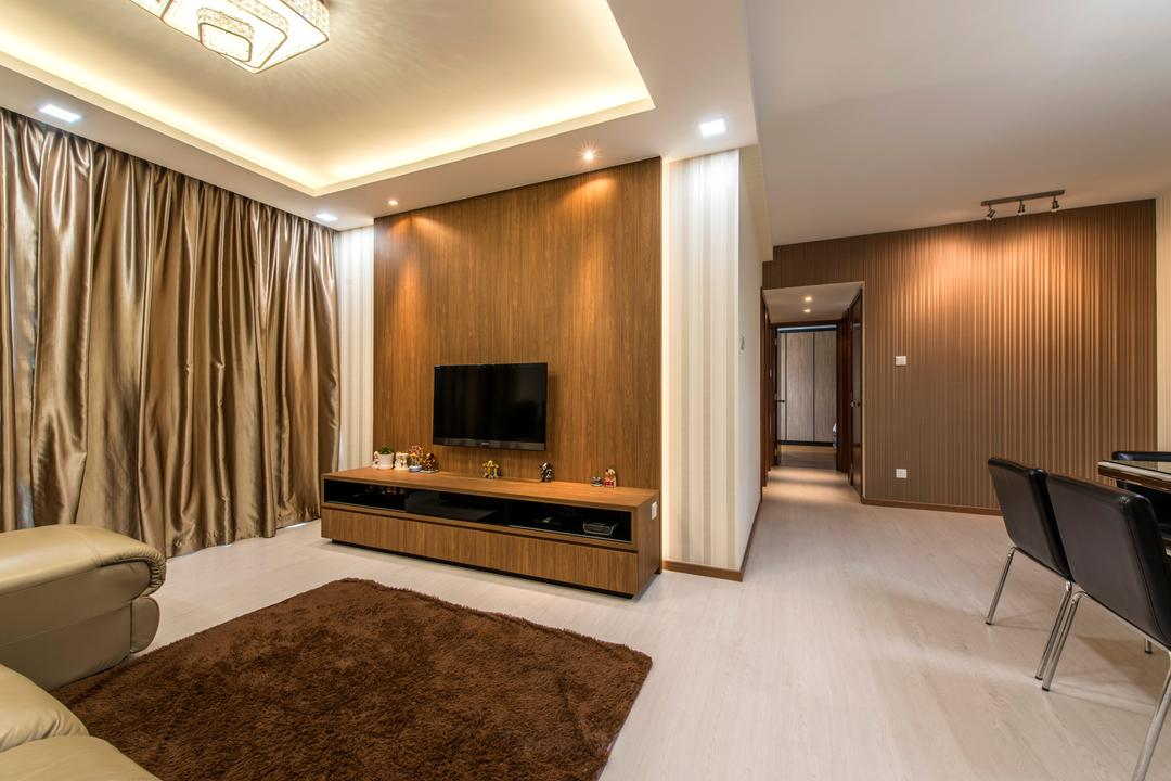 The Gardens @Bishan, 4mation ID, Contemporary, Living Room, Condo, False Ceiling, Tv Console, Feature Wall, Lame Curtains, Glossy Curtain, Gold, Gold Curtain, Carpet, Brown Carpet, Brown