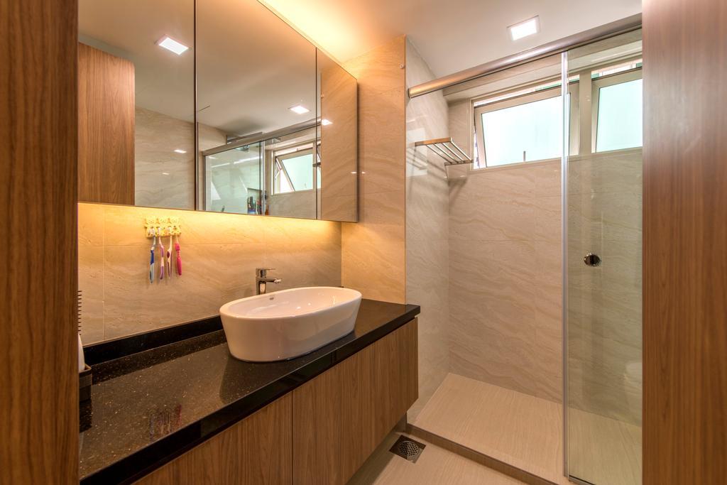 Contemporary, Condo, Bathroom, The Gardens @Bishan, Interior Designer, 4mation ID, Vessel Sink, Bathroom Vanity, Brown Cabinet, Bathroom Cabinet, Mirror, Concealed Lighting