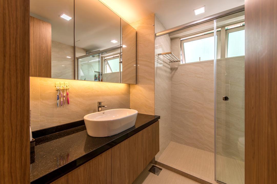 The Gardens @Bishan, 4mation ID, Contemporary, Bathroom, Condo, Vessel Sink, Bathroom Vanity, Brown Cabinet, Bathroom Cabinet, Mirror, Concealed Lighting