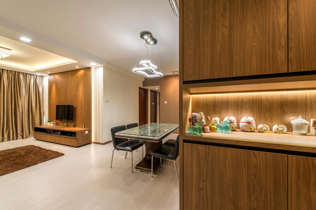 The Gardens @Bishan, 4mation ID, Contemporary, Dining Room, Condo, Cabinet, Dark Wood, Under Cabinet Lighting