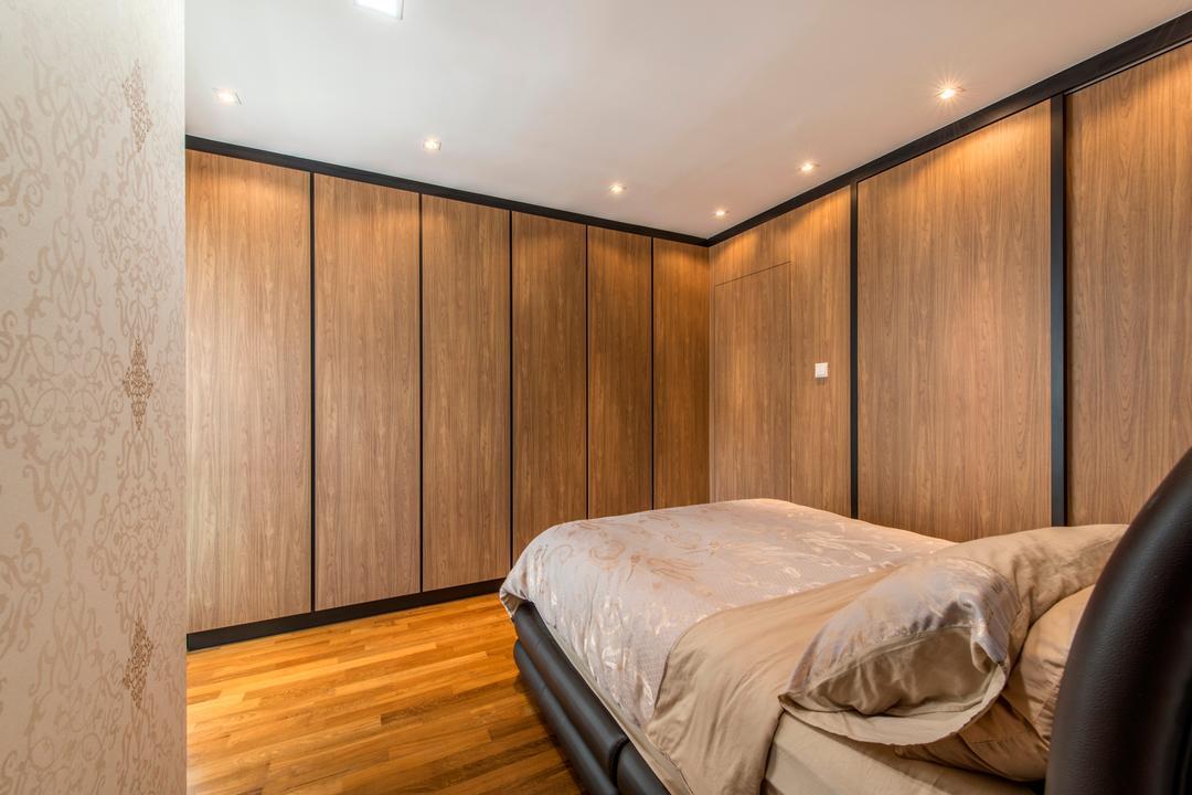 The Gardens @Bishan, 4mation ID, Contemporary, Bedroom, Condo, Downlight, Wardrobe, Wood Grain, Brown Cabinet, Wood Floor, Wooden Flooring, Woody
