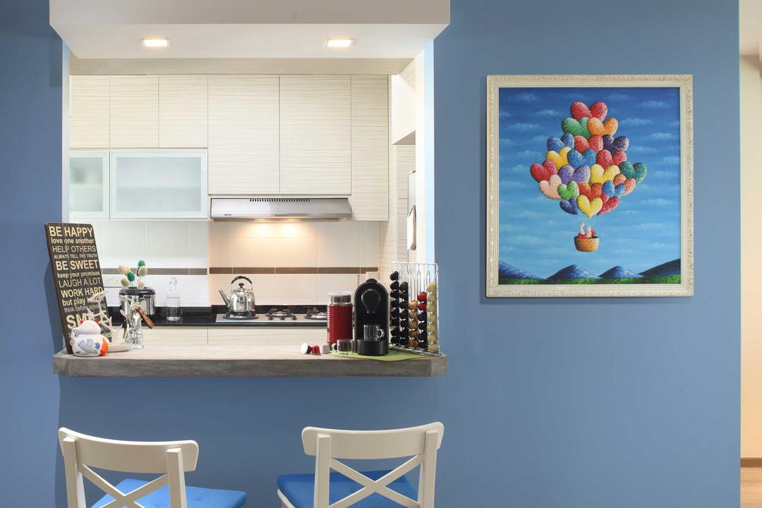 Punggol Field (Block 170A), Boon Siew D'sign, Scandinavian, Kitchen, HDB, High Chairs, Dining, Wall Art, Colourful, Blue Wall, White High Chair, Blue Cushions, Cushioned High Chai, Kitchen Window Opening, Chair, Furniture, Ball, Balloon, Sphere, Dining Room, Indoors, Interior Design, Room