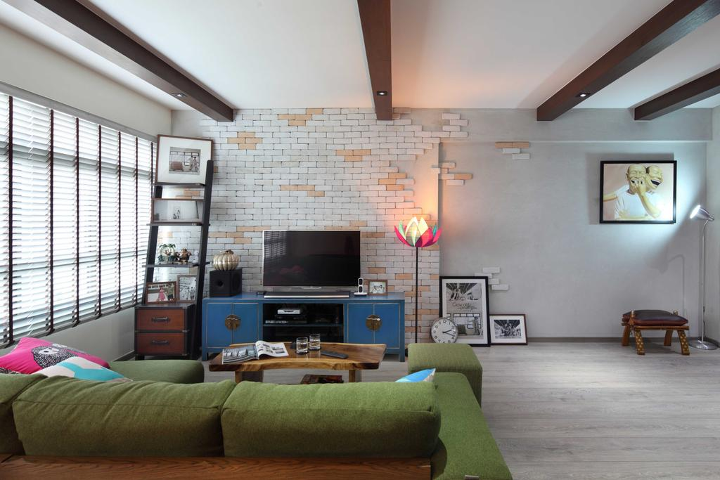 Scandinavian, HDB, Living Room, Punggol Field (Block 170A), Interior Designer, Boon Siew D'sign, Brick Wall, White Brick Wall, Venetian Blinds, Coffee Table, Wood Laminate, Wood, Laminate, Woodwork, Standing Lamp, Parquet, Painting, Ladder, Tv Console, Colorful, Ladder Shelf, Couch, Furniture, Appliance, Electrical Device, Oven, Art, Art Gallery