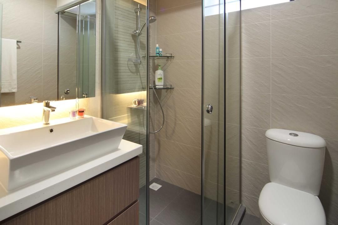 Punggol Field (Block 170A), Boon Siew D'sign, Scandinavian, Bathroom, HDB, Toilet, Wooden Laminate, Glass Door, Concealed Lighting, White Sink, Shower Glass Door, Indoors, Interior Design, Room, Sink