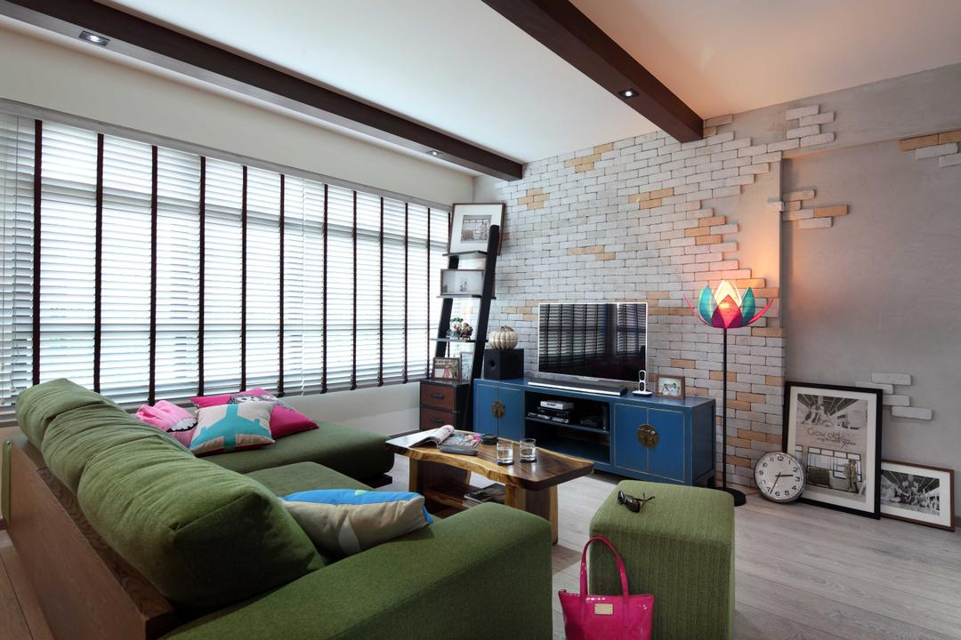 Punggol Field (Block 170A), Boon Siew D'sign, Scandinavian, Living Room, HDB, Brick Wall, White Brick Wall, Venetian Blinds, Coffee Table, Wood Laminate, Wood, Laminate, Woodwork, Standing Lamp, Parquet, Painting, Ladder, Tv Console, Colourful, Couch, Furniture, Luggage, Suitcase, Appliance, Electrical Device, Oven, Building, Housing, Indoors