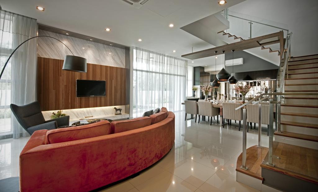 Modern, Landed, Living Room, SuperLink-Templer Park, Interior Designer, SQFT Space Design Management, Couch, Furniture, Indoors, Interior Design
