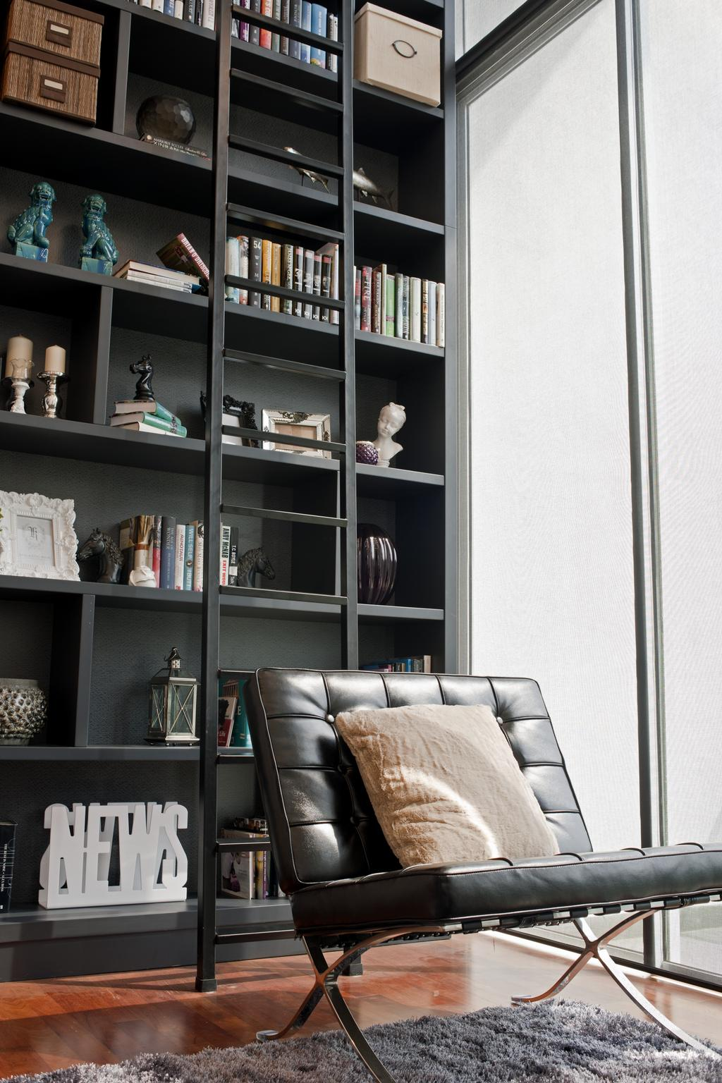 Modern, Landed, Study, SuperLink-Templer Park, Interior Designer, SQFT Space Design Management, Shelf, Bookcase, Furniture, Home Decor, Linen, Chair