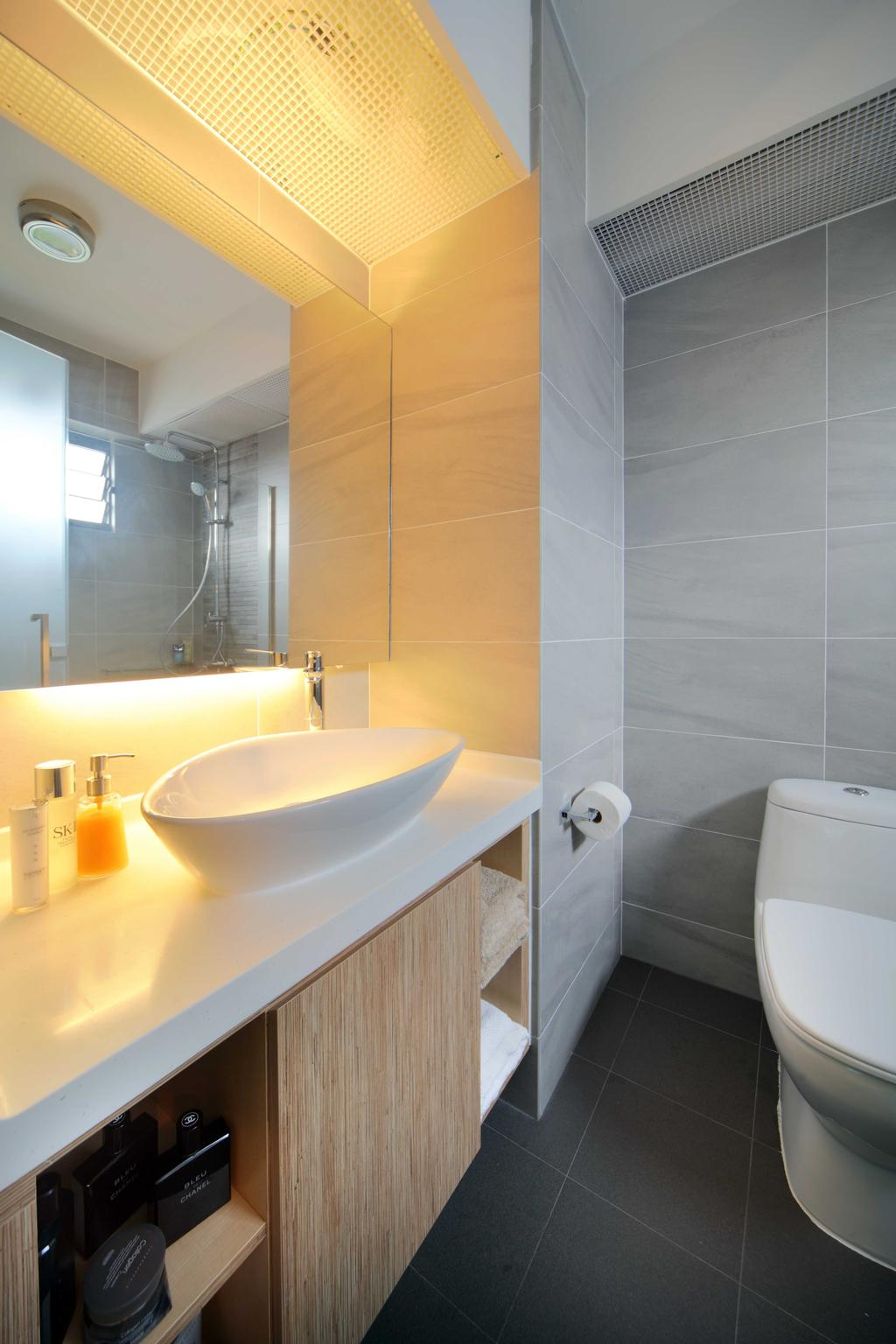 Scandinavian, HDB, Bathroom, Punggol Field (Block 170A), Interior Designer, Boon Siew D'sign, Concealed Lighting, Sink, Mirror, White Basin, White Sink, Indoors, Interior Design, Room