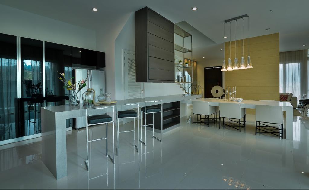 Modern, Landed, Kitchen, Dolomite Templer Park, Selayang, Interior Designer, SQFT Space Design Management, Dining Room, Indoors, Interior Design, Room